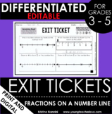Fractions on a Number Line Exit Tickets Differentiated Ass