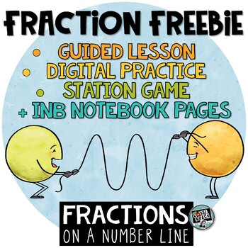 Fractions on a Number Line FREEBIE - INB pages, digital activity, game & more!