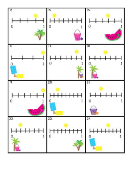 Fractions on a Number Line File Folder Board Game- Beach Theme