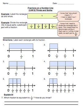 fractions on a number line fraction set 2 thirds and sixths tpt