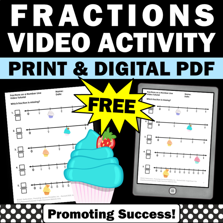 Free Fractions On A Number Line 3rd Grade Math Review