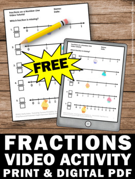 FREE Fractions on a Number Line Worksheet and Video, 3rd Grade Math Activity