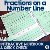 Fractions on a Number Line Interactive Notebook & Quick Check TEKS 4.3G