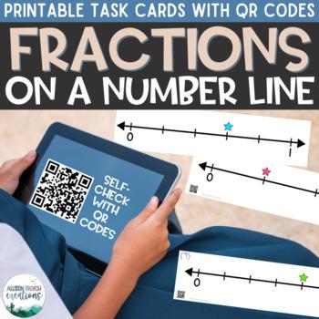 Fractions on a Number Line QR Task Cards