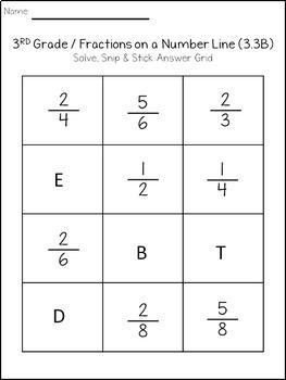 Fractions on a Number Line: Solve, Snip & Stick: TEKS 3.3B