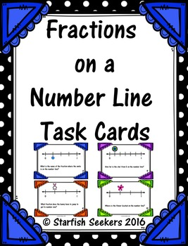 Fractions on a Number Line - Task Cards