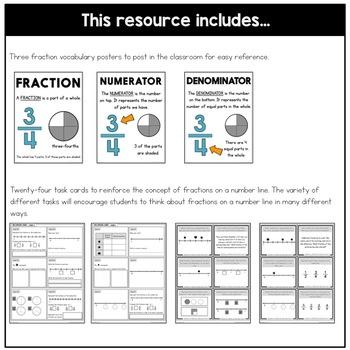 Fractions on a Number Line Task Cards | Fraction Practice