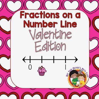 Fractions on a Number Line - Task Cards (Valentine)
