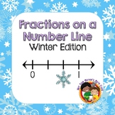 Fractions on a Number Line - Task Cards (Winter)
