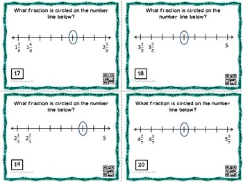 Fractions on a Number Line Task Cards with QR Codes