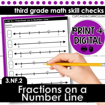 Fractions on a Number Line - Third Grade Print and Go
