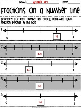 Fractions on a Number Line Worksheet Packet