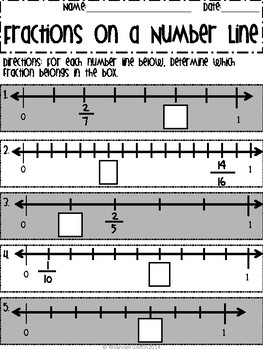 Fractions on a number line worksheets