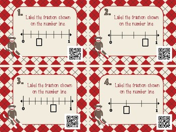 Fractions on a Number Line sock monkey theme Task Cards + QR codes self checking