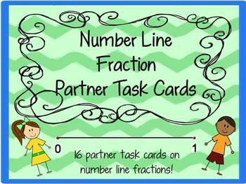 Fractions on a Numberline- Partner Task Cards!