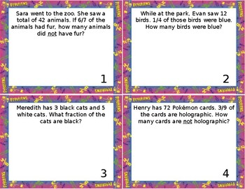 Fractions on a Numberline; Word Problems Task Cards/Scoot *EDITABLE*