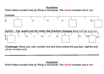 Fractions on a number line for quarters and eigths