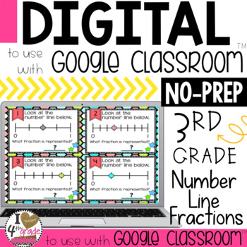 Fractions on a number line task cards for Google Classroom