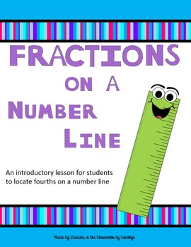 Fractions on a number line to the fourths