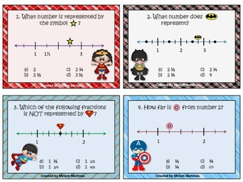 Fractions on a number line with Super Heroes. Task Cards