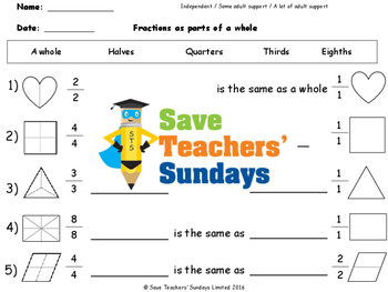 Fractions (part of a whole) Worksheets (3 levels of difficulty)
