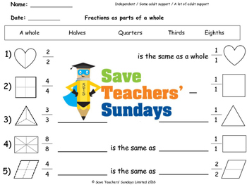 Fractions (parts of a whole) lesson plans, worksheets and more