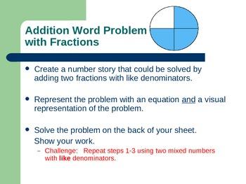 Fractions task cards w & w/o common denominators