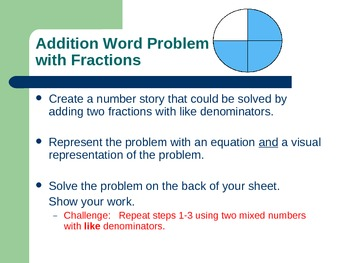 Fractions task cards w & w/o common denominators