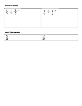 Fractions test or worksheet with pictures - all basic operations