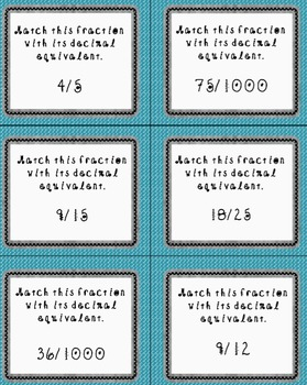 Fractions to Decimal Match