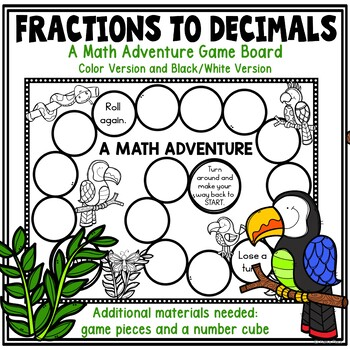 Fractions to Decimals Task Cards and Game Board