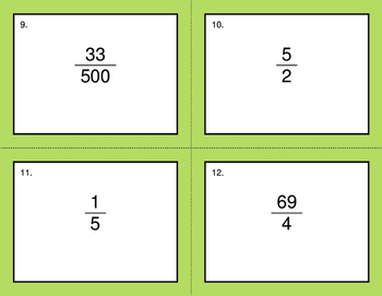 Fractions to Decimals - BINGO and Task Cards