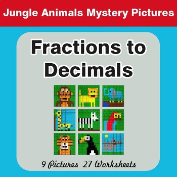 Fractions to Decimals - Color-By-Number Math Mystery Pictures