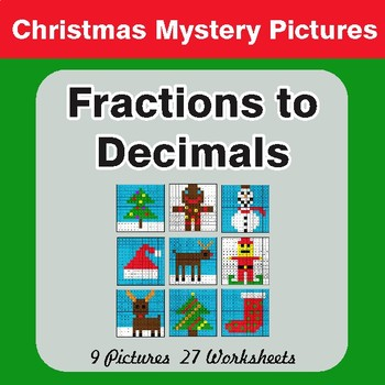Fractions to Decimals - Color-By-Number Mystery Pictures