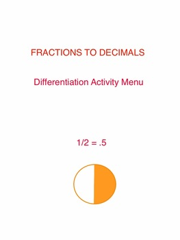 Fractions to Decimals Differentiation Activity Menu