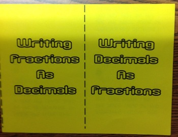 Fractions to Decimals Foldable