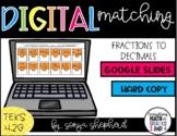 Fractions to Decimals Google Classroom Matching