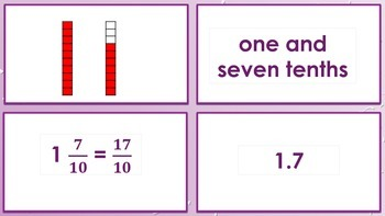 Fractions to Decimals Match 4.2G