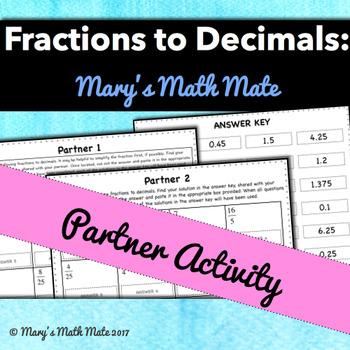 Fractions to Decimals Partner Activity