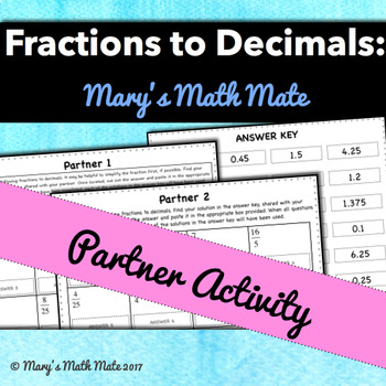 Fractions to Decimals Partner Activity