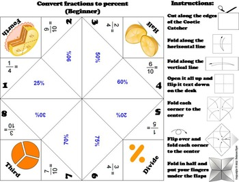 Fractions, Decimals, Percents Activity/ Foldable: No Prep Scoot Game/ Quiz