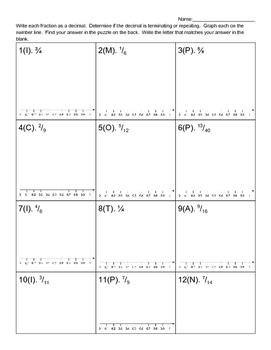 Fractions to Decimals Puzzle