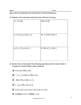 Fractions to Decimals, Rational Numbers, Solving Equations Quick Checks