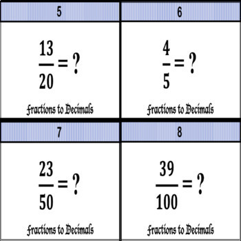 Fractions to Decimals Task Cards (to the thousandths place value)