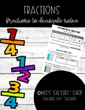 Fractions to Decimals Notes (Tenths & Hundreths)