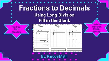 Fractions to Decimals Using Long Division Fill in the Missing Numbers NS.A2d