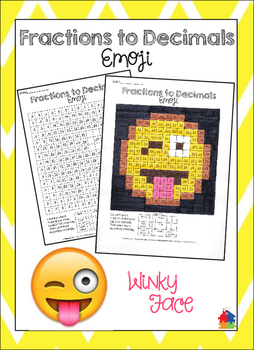 Fractions to Decimals Winky Emoji