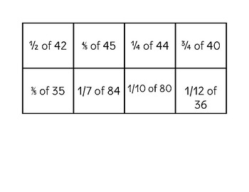 Fractions to Find Parts of Numbers Memory Game