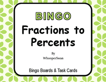 Fractions to Percents - BINGO and Task Cards