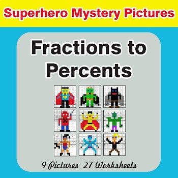 Fractions to Percents - Color-By-Number Math Mystery Pictures